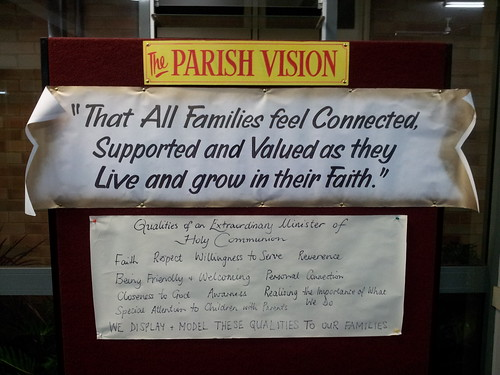 Parish Vision noticeboard in narthex - with reflections from formation workshop