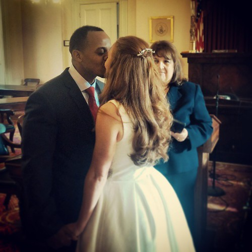 First kiss as husband and wife. Congratulations Cleve and Alyssa! They were married today in Salem, MA.