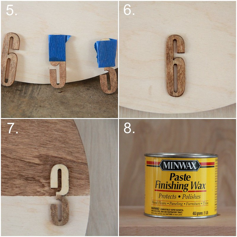 how to make a stained plywood wall clock via Kristina J blog