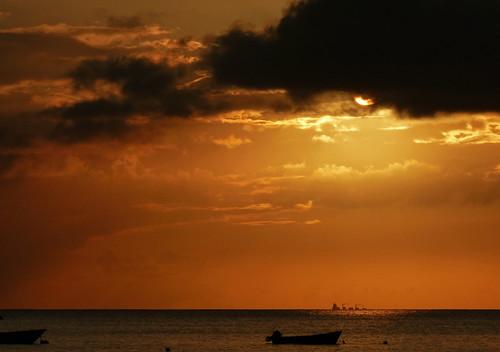 sunset sky sun seascape beach water landscape