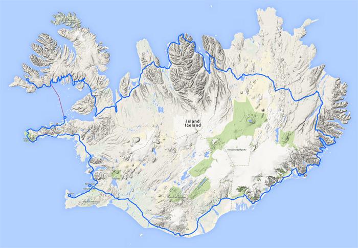 Cartina Islanda