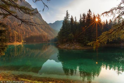 sun sunrise canon landscape austria see österreich greenlake lensflare dreamy landschaft sonnenaufgang steiermark styria 1635mm emeraldgreen beautifullandscape grünersee beautifullake 5dmarkiii mtberger