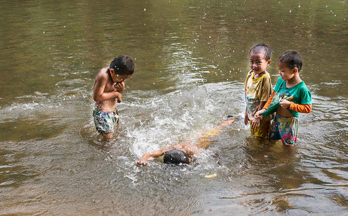 asian fun laos asia swimming water lao namhariver luangnamtha boys playing