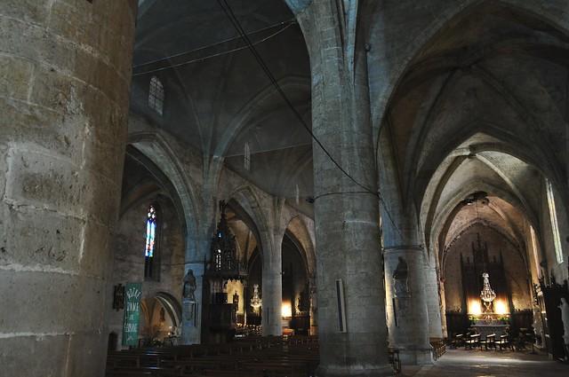 Nef, église gothique (XIVe, XVIe) Notre Dame et St Jean-Baptiste, Fleurance, Armagnac, Gers, Occitanie, France.