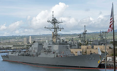 USS Dewey (DDG 105) sits along the pier at Joint Base Pearl Harbor-Hickam, April 11. (U.S. Navy/MC1 Corwin Colbert)