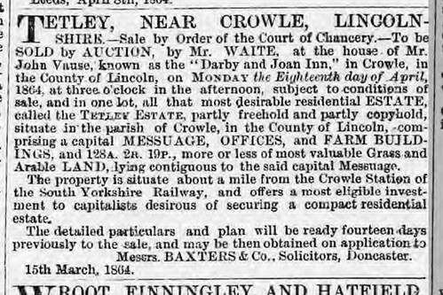 Tetley Auction Leeds Intelligencer Saturday 16 April 1864