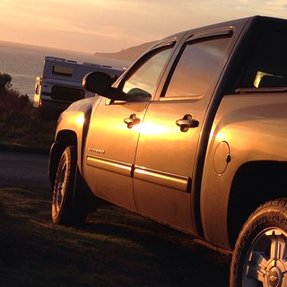 One of my favorite Chevy shots from the Airstream trip. Sunset at Kirk Creek campground in Big Sur. #airstreamdc2cali #chevrolet #silverado #chevy #chevytruck #airstream #california #nofilter