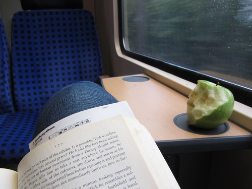 Relaxing on the train with a book and an apple.