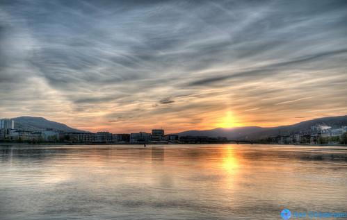 city sunset norway clouds river holmen drammen