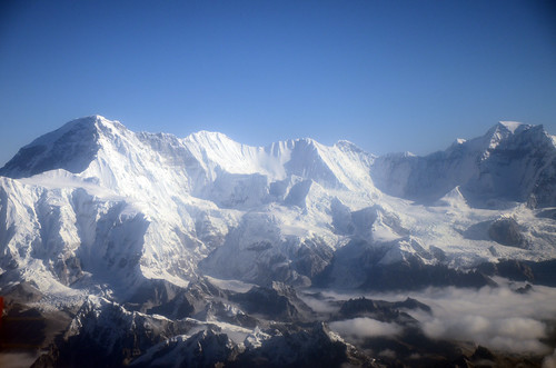A view of the Himalayas, as seen from a flight by Mount Everest.