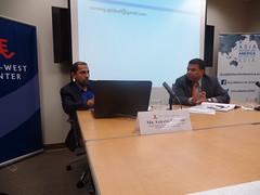 Mr. Sarang Shidore (left) and Dr. Satu Limaye (right) debate the trajectory of India's strategic culture.