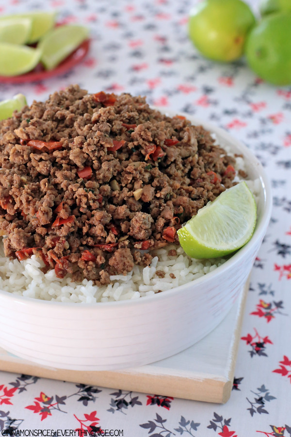 Thai Beef with Coconut Milk Rice #dinnerrecipes