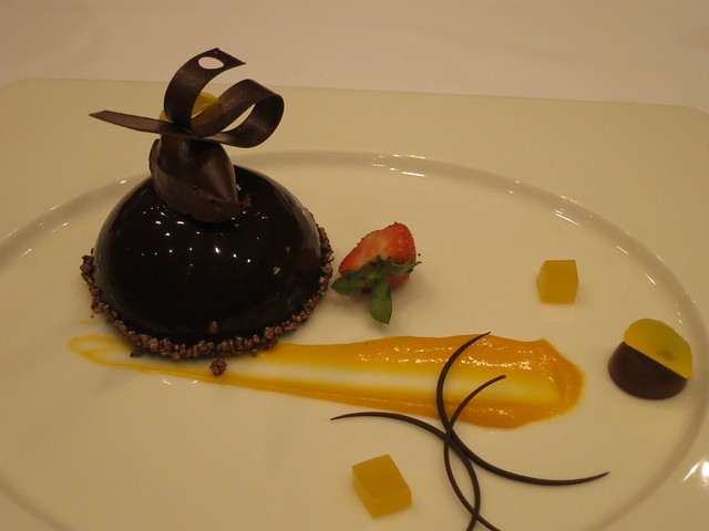 IMG_2092: Prince Albert Five-Spice Chocolate Mousse with Orange Gelee and Mandarin Sauce