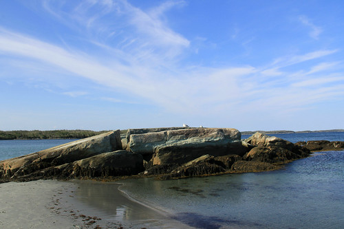 sky canada beach nature water clouds landscape sand rocks day novascotia clear atlanticocean taylorhead