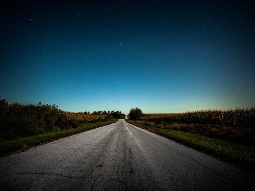 road autumn sky fall field wisconsin night rural dark stars landscape star drive corn october unitedstates farm farming scenic late crops 12mm blacktop 2014 f20 browntown rokinon
