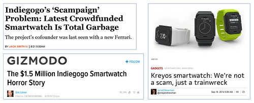 ข่าวความล้มเหลวของแคมเปญ Kreyos Smartwatch