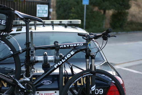 Hayward police bike on a San Jose police car?