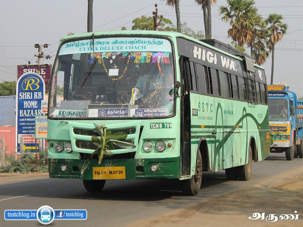 TN-01N-9739 ( TCN B 701 ) of Thoothukudi Depot Route 743E Thiruchendur - Kozhikode via Thoothukudi, Madurai, Palani, Pollachi, Palakkad, Malapuram.