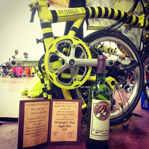 "Our prize. Stamped ""passport"" & bottle of wine. #SCDNR2014 #bromptonbicycle #wine #100miles #100milesofcycling"