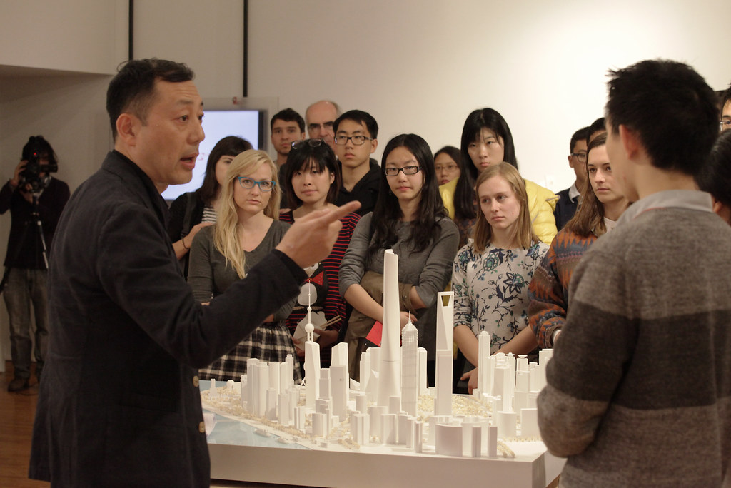 Jun Xia, regional design director and principal at Gensler visited campus to talk about the project and the models.