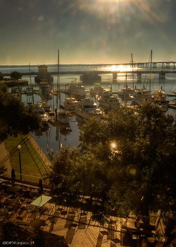 reflection water marina sunrise harbor nikon shadows unitedstates northcarolina calm deck bots hdr lightroom newbern photomatix