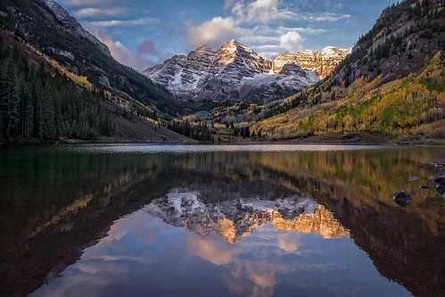 autumn mountain reflection tree sunrise landscape colorado foliage aspens aspen maroonpeak goldenhours