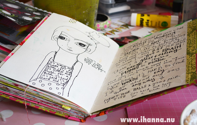 Art Journaling: Me and hamsti selfie in my art journal,  by iHanna of www.ihanna.nu