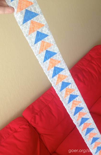 alternating orange and blue flying geese strip