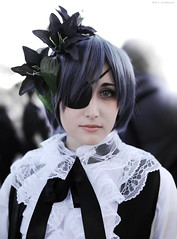 hime cut, hairstyle, clothing, hair, costume, wig, black, cosplay,