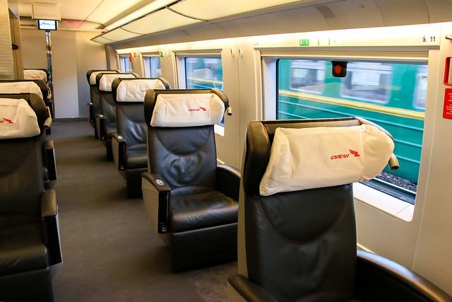 Car of Sapsan train first class サプサン号一等車の座席