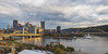 Panorama of Pittsburgh at sunset in fall from the North Shore