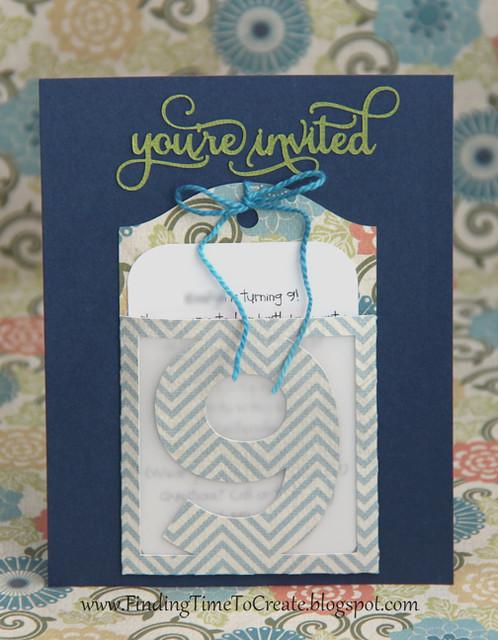 Pocket tag birthday invitation