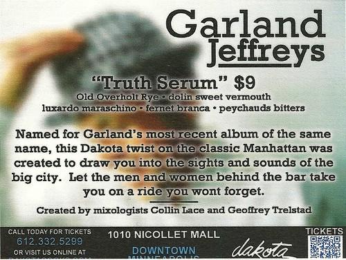 "11/07/14 Garland Jefferys @ Dakota Jazz, Minneapolis, MN (""Truth Serum"" Drink Special Handbill)"