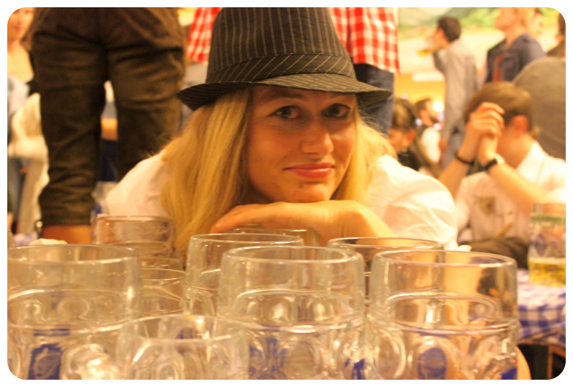 dani with empty glasses