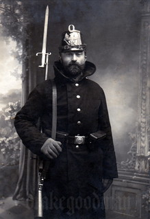 A Prussian Landsturmmann poses for a memento photograph - a Christmas present to family and friends perhaps?