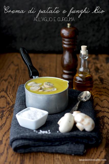 Crema di patate e funghi Bio all'aglio e curcuma