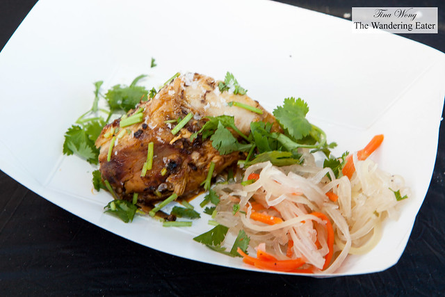 """Inasal"" marinated chicken in Tabasco, ginger and lime with a side of Filipino pickled green papaya salad by Chef Paul Qui of qui"