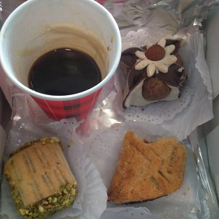 local snack - dark coffee with pistachio almond honey etc not sure what its all called but it is good #5q #docfilm #algeria