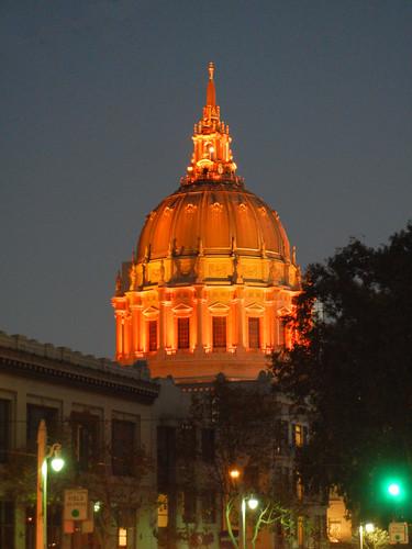 DSCN7862 - San Francisco City Hall in SF Giants' Orange Glow - m