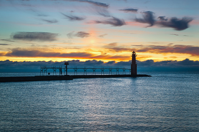 Lighthouse, Algoma, WI, Sunrise, Lake Michigan