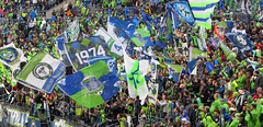 Sounders vs Galaxy 10/25/14 - Big F***ing Flags flying