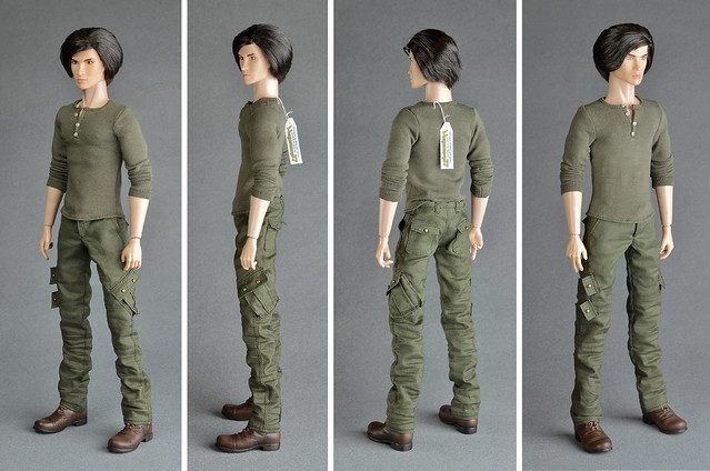 Fashion Royalty Homme male doll in cargo pants with 7 real usable pockets and henley shirt