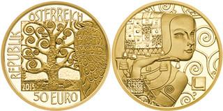 Austria — Klimt His Women ~ The Expectation 50 Euro, Gold [KM# 3218]