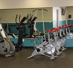exercise machine, room, indoor cycling, gym,