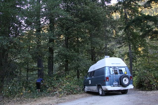 Picking berries for the morning at the camp for the night, Northern California.