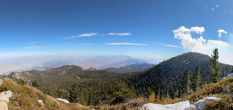 Panorama view south from high up on the San Jacinto Peak Trail