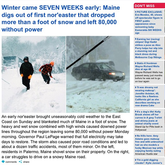 The fact that my teens are on The Daily Mail amuses me. #snowvember #maine #207gram