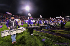 NUMB and NUMBALUMS Drumline on Ryan Field ::  	   The Northwestern University 'Wildcat' Marching Band and the NUMBALUMS perform at Ryan Field as Northwestern Football hosts Nebraska during homecoming on October 18, 2014.  Photo by Daniel M. Reck '08 MSEd.