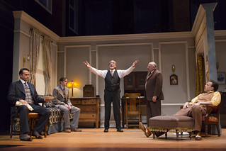 Stephen Schnetzer, Michael Goldsmith, Will LeBow, David Wohl, and Eric T. Miller in Clifford Odets' stirring American classic AWAKE AND SING!, directed by Melia Bensussen, playing November 7 – December 7, 2014 at the BU Theatre / Avenue of the Arts.  Photo: T. Charles Erickson