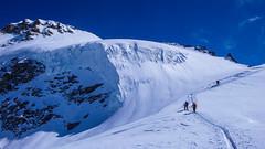 Podejscie na szczyt Gran Paradiso 2061m. Lodowiec Ghiacciaio del Gran Paradiso, wysokośc około 3700m